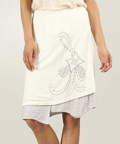 Look at this #zulilyfind! Off-White Embroidered Asymmetrical Skirt - Women #zulilyfinds