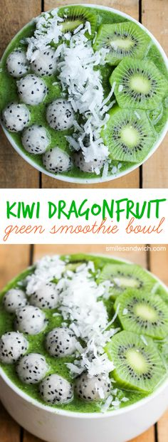 Kiwi Dragonfruit Green Smoothie Bowl is a delicious tropical green smoothie served in a bowl with fruit topping