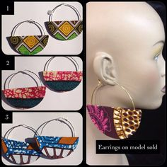 Earrings : African Fabric Hoop Earrings