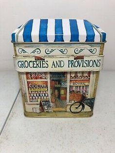THE SILVER CRANE Company Groceries & Provisions Tin - $11.99 | PicClick Vintage New York, Vintage Metal, Car Cleaning Kit, Tin Lunch Boxes, Crane Design, Tin House, Retro Radios, Tin Containers, Box Houses