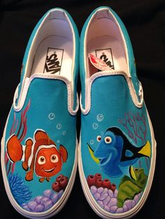 This is a pair of Finding Nemo hand painted Vans shoes. The design on the shoes was inspired by the Nemo movie characters and are just an example of