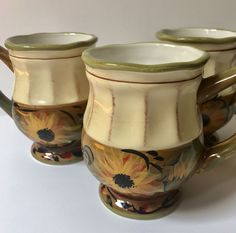 3 Footed Coffee Mugs Sunflower Margaret Le Van Certified International.These beautiful,footed coffee mugs have sunflowers painted on them and measure about 4-3/4 tall and hold up to 12 ounces. Type: Coffee Mugs. | eBay!