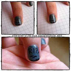 DIY halloween nails: DIY Halloween nail art : Halloween Challenge  Tombston