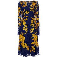 Oscar de la Renta Navy and Yellow Embroidered Lace Dress ($1,237) ❤ liked on Polyvore featuring dresses, oscar de la renta, blue, yellow dress, navy blue dress, sheer dress, blue lace dress and long sleeve dress