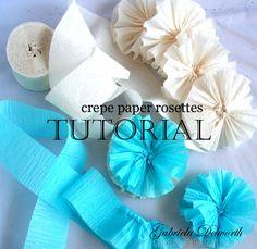 Hand sewn crepe paper rosettes