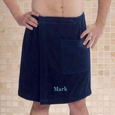 Sewing Men Projects Embroidered Men's Bath Wrap - One size fits most. Embroidered Mens Navy Bath Wrap is Cotton and measures Long. Features elastic on top with an adjustable Velcro closure ensuring a comfortable and secure fit while freeing up your hands. Sewing Men, Sewing Clothes, Sewing Tips, Men Shower, Romantic Gifts For Him, Personalised Gifts For Him, Velour Fabric, Techniques Couture, Sewing For Beginners