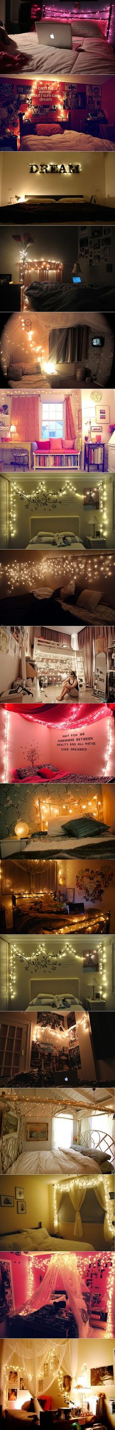 great ideas for making bedrooms personal, for teens/young adults, Christmas lights, favorite sayings on walls, photos, etc  -- by parnellemily