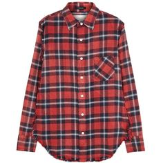 Womens Long-Sleeved Tops R13 Inside Out Plaid Flannel Shirt ($365) ❤ liked on Polyvore featuring tops, long sleeve shirts, red tartan shirt, red long sleeve top, red plaid top and shirt tops
