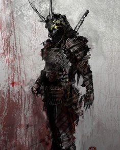 Japanese Art Samurai, Japanese Warrior, Oni Samurai, Samurai Warrior, Shuriken, Katana, Dark Fantasy Art, Dark Art, Fantasy Armor