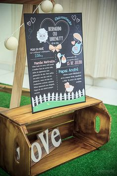 Chá Revelação tema Ovelhinhas   Macetes de Mãe Baby Shower Themes, Art Quotes, Lamb, Chalkboard, Outdoor Decor, Kids, Babies, Future, Baby Sheep