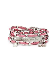 Breast Cancer Awareness - Charity - Chain Of Love Bracelet - Pink and Silver - Good Work(s) is fashion with a purpose and donates 50% of net profits of Breast Cancer Awareness Month products to sponsoring college scholarships for the children of breast cancer victims and supports the Breast Cancer Society.
