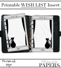 A cute Black Cat WISH LIST insert for your personal planner