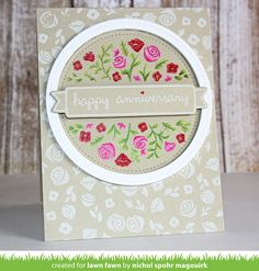Lawn Fawn Penelope's Blossoms Beautiful Floral Anniversary Card by Nichol Magouirk (with video tutorial)