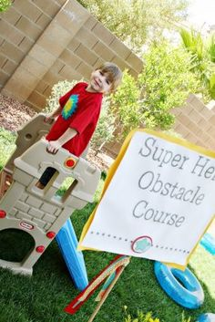 It's not a super hero party without a super hero obstacle course! Avengers Birthday, Superhero Birthday Party, Pirate Birthday, 4th Birthday Parties, 3rd Birthday, Happy Birthday, Birthday Ideas, Superman Party, Wonder Woman Birthday