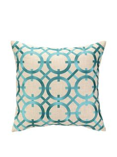 Peking Handicraft Parisian Lights Pillow, Turquoise at MYHABIT