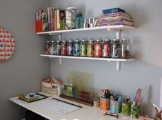 Scrap Fabrics in Jars and fabric baskets of all colors for sorting scraps. Yes!