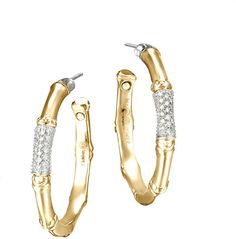 John Hardy Gold Bamboo Earrings - The Best Produck Of Earring John Hardy Bracelet, John Hardy Jewelry, Bamboo Hoop Earrings, Gold Earrings, Hook Bracelet, Bracelets, Diamond Sizes, Diamond Bands, Medium