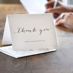 Heather Thank You by Engaging Papers. Folded notecard is Luxepress printed on matte white cardstock in chocolate brown ink and features a rustic #floral #pattern on the back.