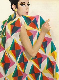 Peggy Moffitt in Paco Rabanne - Stitches Colored Plastic Triangles Coat - Spring 1966 Collection