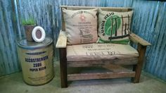 Pallet chair with coffee bag cushion