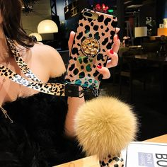 Leopard Airbag Bracket Case with Plush Ball For iPhone Bling Phone Cases, Cute Phone Cases, Mobile Phone Cases, Iphone Cases, Iphone Accessories, Other Accessories, Take Better Photos, Cute Designs, Dressing Room