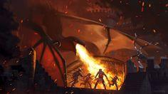 Dragon Attack, Joseph Meehan on ArtStation at https://www.artstation.com/artwork/wm3D5