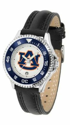 Auburn Tigers Competitor Ladies Watch with Leather Band by SunTime. $74.55. The hottest sports watch on the market, the Competitor features the Auburn Tigers team logo boldly displayed on the dial along with a colorful rotating timer/bezel, quartz accurate movement and leather/nylon strap. The combined leather underneath and nylon on top makes the watch water resistant as well.¶Wear it to a game, while watching a game or just to show off your NCAA pride wherever you go!