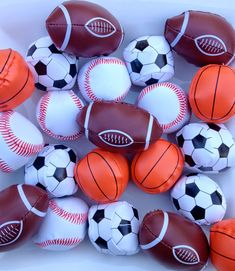 Harrison is   all sports, all the time...      His sports themed birthday party favors   will have gum balls,      mini bean bag balls.....