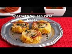 Spaghetti Squash Pizza Nests are made with low carb, gluten free spaghetti squash and filled with pizza toppings. Tasty low carb pizza nests.