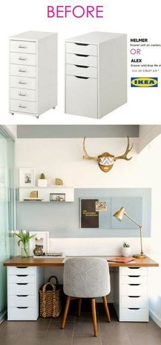 Smart and Gorgeous IKEA Hacks: save time and money with functional designs and beautiful transformations. Great ideas for every room such as IKEA hack bed, desk, dressers, kitchen islands, and more! - A Piece of Rainbow Smart and Gorgeous IKEA Ha Home Office Design, Home Office Decor, Diy Home Decor, Office Ideas, Decor Crafts, Office Designs, Diy Crafts, Decor Room, Room Decorations