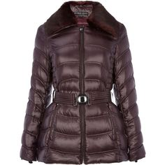 Dawn Levy Detachable faux fur collar jacket ($195) ❤ liked on Polyvore featuring outerwear, jackets, clearance, purple, down filled jacket, down jacket, purple jacket, purple down jacket and long sleeve jacket