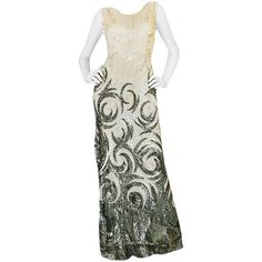 Preowned Spectacular 1920s Couture Swirling Gold & Cream Sequin Dress ($4,600) ❤ liked on Polyvore featuring dresses, evening gowns, white, fitted cocktail dresses, white cocktail dress, white dress, sexy cocktail dresses and cocktail dresses