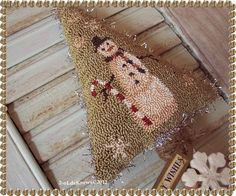 Merry Snowman Primitive Original Punch Needle Christmas Tree Snowflakes | eBay