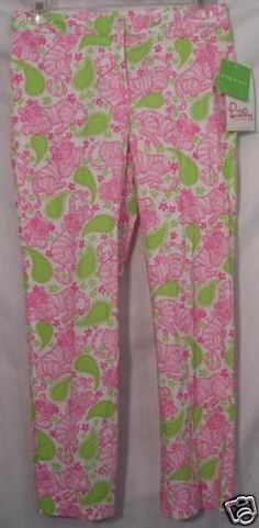Lilly Pulitzer Capri Black Jack Pink Tiger Green Leaves Pants Size 0 NEW $155 #LillyPulitzer #CaprisCropped