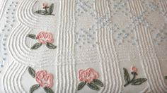 Vintage Chenille Bedspread Large Two Toned Pink Roses Green Leaves and Blue Puffs Classic and Beautiful     Vintage Chenille Bedspread Larg...