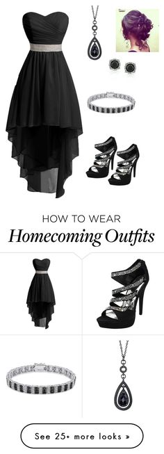 """Black HomeComing Dress"" by annabethbooklover on Polyvore featuring 1928, Mark Broumand and Finesque"