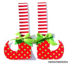 Elf ShoesFabric Iron On AppliquesRibbon by OnceUponaDesign on Etsy, $6.00