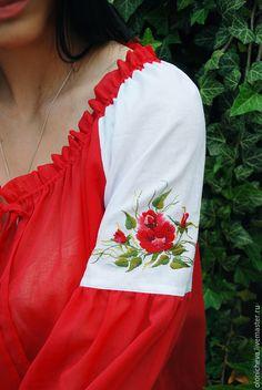 Купить Вышитая блуза. Блуза с вышивкой ручной работы «Алая роза» - ярко-красный, однотонный