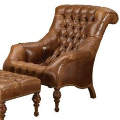 Carl Forslund Leather Sleepy Hollow Chair Amp Ottomn