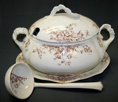 Circa 1891 Antique English Brown Transferware Soup Tureen, Ladle and Underplate