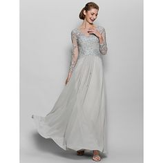 Lanting Bride® A-line Mother of the Bride Dress Floor-length Long Sleeve Chiffon / Lace with Appliques – USD $ 119.99