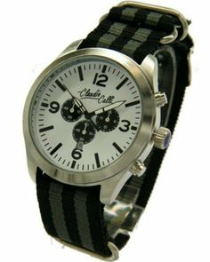 Claudio Calli Watch Unisex Armbanduhren CAL.7747 Dummy Chronograph Schwarz und Grau Nylon Silber Analog Quarz Claudio Calli, http://www.amazon.de/dp/B00J2VWM7C/ref=cm_sw_r_pi_dp_Vk9rtb0A0G9GP