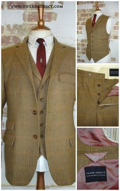 Beautiful vintage styled 3 piece tweed suit from Tweed Addict, London. High closure 3 button jacket, with flapped breast pocket and no rear vents. Peaked lapel waistcoat with pocket watch buttonhole. Button fly fishtail-back trousers. tweed suit wedding, tweed suit men, tweed suit groom.