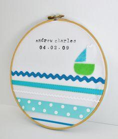 custom baby gift/nursery decor/personalized boy nursery decor-blue and green sailboat. $35.00, via Etsy.
