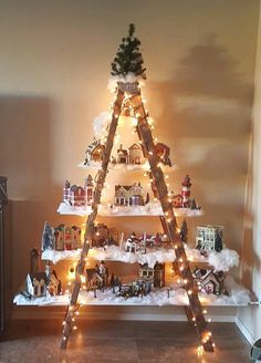 Beautiful Christmas Ladder Village. I could put my Nutcrackers on this among other things too.