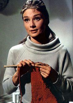 Film Noir Photos: Sweater Girl: Audrey Hepburn and knitting, no less