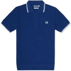 Textured Knitted Polo  in French Navy by Fred Perry