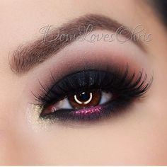 Black classic smokey eye with a pop of pink #eyes #eye #makeup #eyeshadow #dark #dramatic