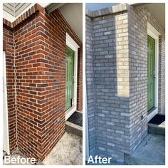 backyard remodel Dont paint your bricklet us stain it for a more natural appearance. Stained Brick Exterior, Painted Brick Exteriors, White Washed Brick Exterior, Painted Brick Homes, Stain Brick, Painted Brick Ranch, Home Exterior Makeover, Exterior Remodel, Exterior Paint Colors For House
