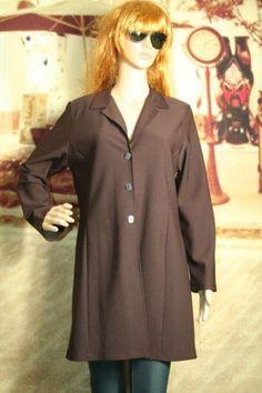 Womens lightweight knee length coat jacket blazer 3 button front size L